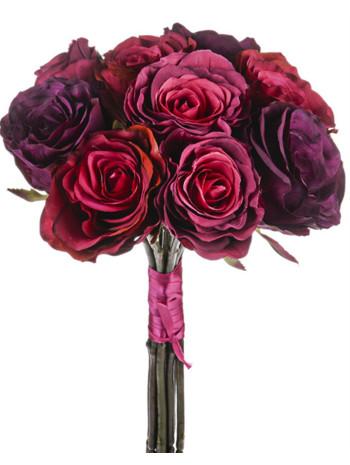 Artifical Flower Rose Bundle Short Stem - Wine 44cm